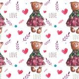 Teste padrão do vetor com os ursos de peluche bonitos da aquarela Imagem de Stock