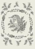 Teste padrão do vetor com pássaros e flores Foto de Stock Royalty Free