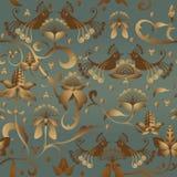 Teste padrão do vetor com pássaros e flores da silhueta Imagens de Stock