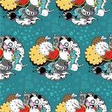 Teste padrão do vetor com panda e cookie ilustração royalty free