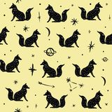 Teste padrão do vetor com raposas, a lua e as estrelas polares, constelações do espaço Textura bonita da parede ilustração do vetor
