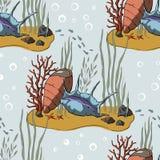 Teste padrão do vetor com recife de corais ilustração do vetor