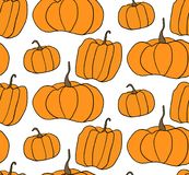 Teste padrão do vetor da abóbora de Dia das Bruxas Ilustração simples de abóboras do Dia das Bruxas para o fundo do página da web Imagens de Stock