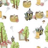 Teste padrão do vetor da cesta e dos cogumelos da lanterna da árvore da casa ilustração stock