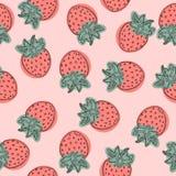Teste padrão do vetor da morango, ilustração do fruto no fundo branco, bom para o papel de parede ilustração royalty free