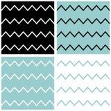 Teste padrão do vetor da viga da telha ajustado com azul do marinheiro, fundo preto e branco do ziguezague ilustração stock