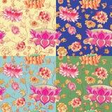 Teste padrão do vetor das flores com lótus Imagem de Stock Royalty Free