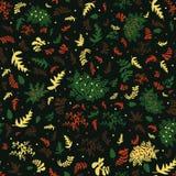 Teste padrão do vetor de Semless em tons vermelhos e amarelos verdes com folhas e bagas ilustração stock