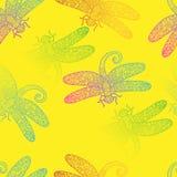 Teste padrão do vetor do projeto da textura da libélula do arco-íris da mola Foto de Stock