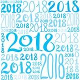Teste padrão do vetor do número 2018 Textura do fundo do ano novo para o cartão, giftbox que envolve, decoração Fotografia de Stock