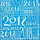 Teste padrão do vetor do número 2018 Textura do fundo do ano novo para o cartão, giftbox que envolve, decoração Imagem de Stock