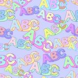 Teste padrão do vetor do símbolo do ABC As crianças estudam o fundo ilustração stock