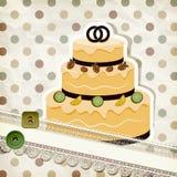 Teste padrão do vintage com bolo de casamento Imagens de Stock