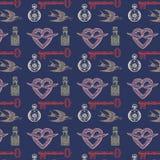 Teste padrão do vintage com pássaros e chaves Imagem de Stock Royalty Free