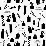 Teste padrão do vintage do barbeiro ilustração stock