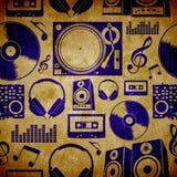 Teste padrão do vintage dos elementes da música do DJ Fotografia de Stock Royalty Free