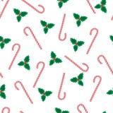 Teste padrão do visco e do Natal dos candycanes Fotografia de Stock Royalty Free