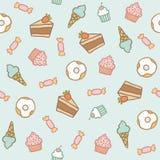 Teste padrão doce Bolos, queques, doces, anéis de espuma, Fotos de Stock
