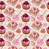 Teste padrão doce com bolos Imagens de Stock