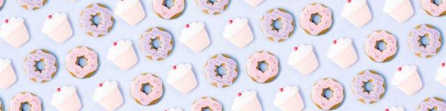 Teste padrão doce das cookies foto de stock