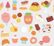 Teste padrão doce do alimento de Kawaii ilustração royalty free