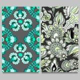 Teste padrão dois floral sem emenda projeto oriental ou indiano estoque VE Imagens de Stock Royalty Free