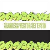 Teste padrão dois horizontal sem emenda de maçãs deliciosas verdes Imagem de Stock