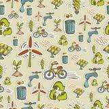 Teste padrão dos ícones da ecologia Imagens de Stock
