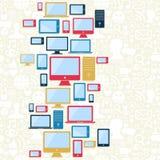 Teste padrão dos ícones do computador, do móbil e da tabuleta Foto de Stock Royalty Free