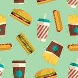 Teste padrão dos ícones do fast food no estilo liso Imagens de Stock