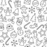 Teste padrão dos ícones do Natal ilustração stock
