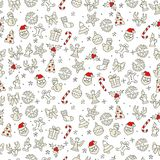 Teste padrão dos ícones do Natal em vermelho e em branco ilustração royalty free