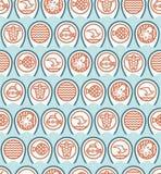 Teste padrão dos ícones do oceano em ondas azuis Fotos de Stock
