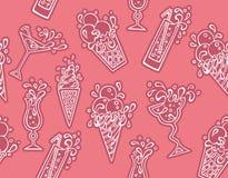 Teste padrão dos ícones dos cocktail Imagem de Stock Royalty Free