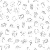 Teste padrão dos ícones dos doces do café Foto de Stock Royalty Free