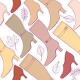 Teste padrão dos acessórios. Fundo das botas e das sapatas da forma. Imagem de Stock Royalty Free