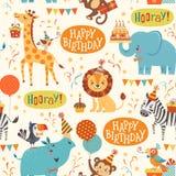 Teste padrão dos animais do feliz aniversario Fotografia de Stock Royalty Free
