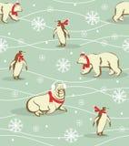 Teste padrão dos animais do inverno Imagens de Stock Royalty Free