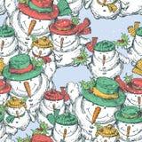 Teste padrão dos bonecos de neve alegres do Natal ilustração royalty free