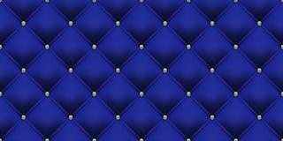 Teste padrão dos botões do ouro do fundo dos azuis marinhos Estofamento luxuoso do vintage do couro ou do veludo do vetor com os  ilustração stock