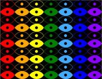 Teste padrão dos círculos e das elipses no fundo preto Ilustração Royalty Free