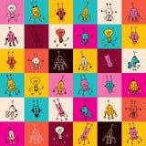 Teste padrão dos caráteres do robô dos desenhos animados Fotos de Stock