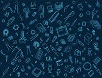 Teste padrão dos componentes eletrônicos no fundo azul Foto de Stock Royalty Free