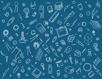 Teste padrão dos componentes eletrônicos no fundo azul Fotografia de Stock