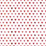 Teste padrão dos corações da aquarela Foto de Stock