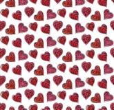 Teste padrão dos corações da aquarela Imagem de Stock