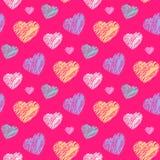 Teste padrão dos corações do garrancho Foto de Stock Royalty Free