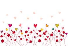 Teste padrão dos corações e das flores Foto de Stock Royalty Free