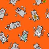 Teste padrão dos desenhos animados com caráteres do gato Foto de Stock Royalty Free