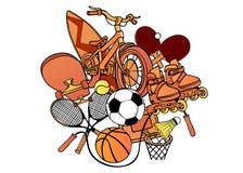 Teste padrão dos desenhos animados com objetos do esporte Imagem de Stock Royalty Free